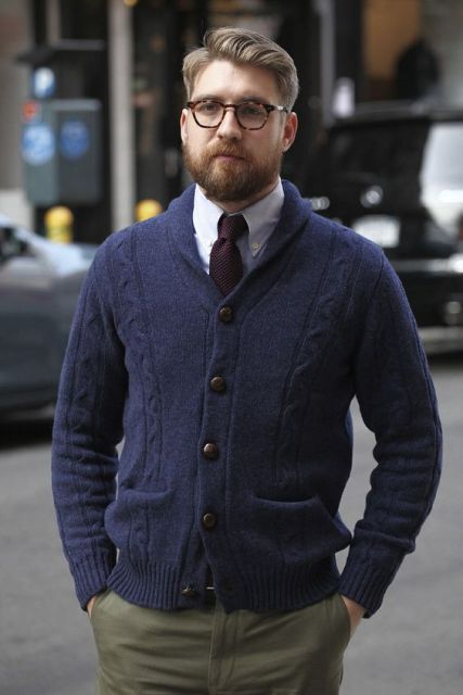 23 Men Outfits With Shawl Collar Sweaters And Cardigans ...