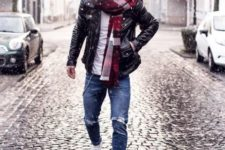 With white t-shirt, leather jacket, distressed jeans and white sneakers