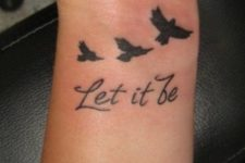 Words with birds tattoo