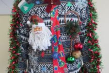 bold sweater with a tie, ornaments and bells