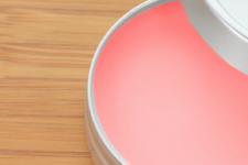 DIY pink colored lip balm