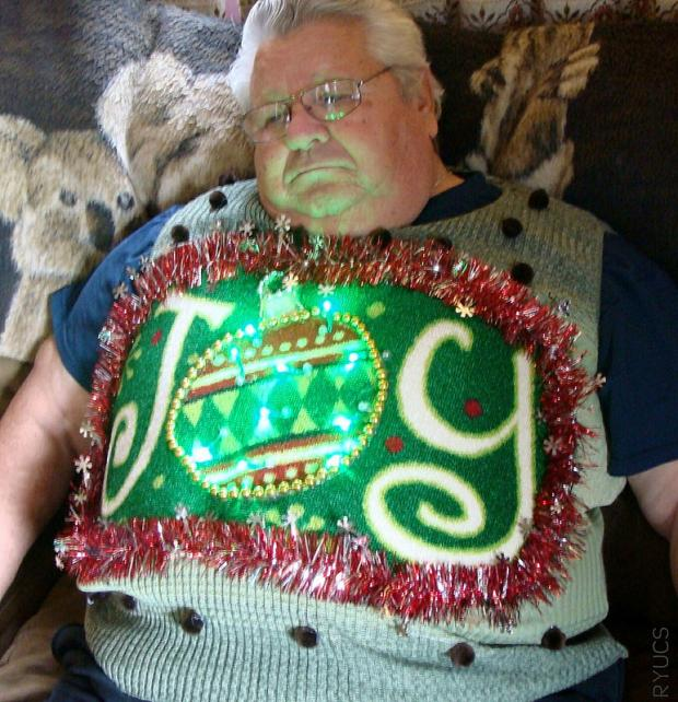 crazy JOY ugly sweater with glitter