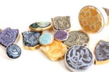DIY faux enamel resin pendants