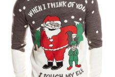 funny Santa and elf sweater