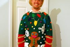 gingerbread man and lights sweater