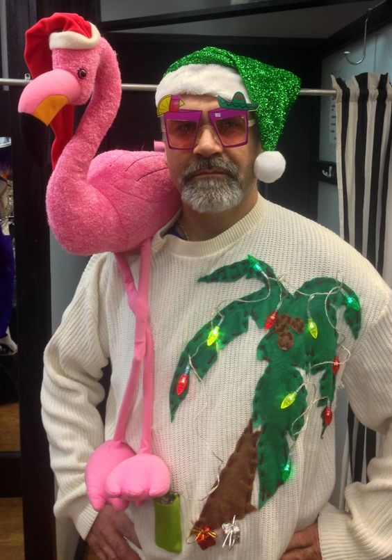 if you live in a tropical place, add a flamingo and a palm tree to your sweater