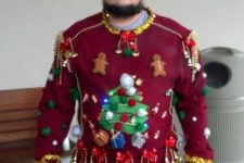 red embellished sweater with a tree, bells and gingerbread men