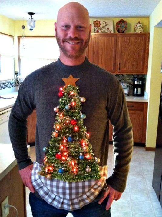 sweater with a Christmas tree, ornaments and lights