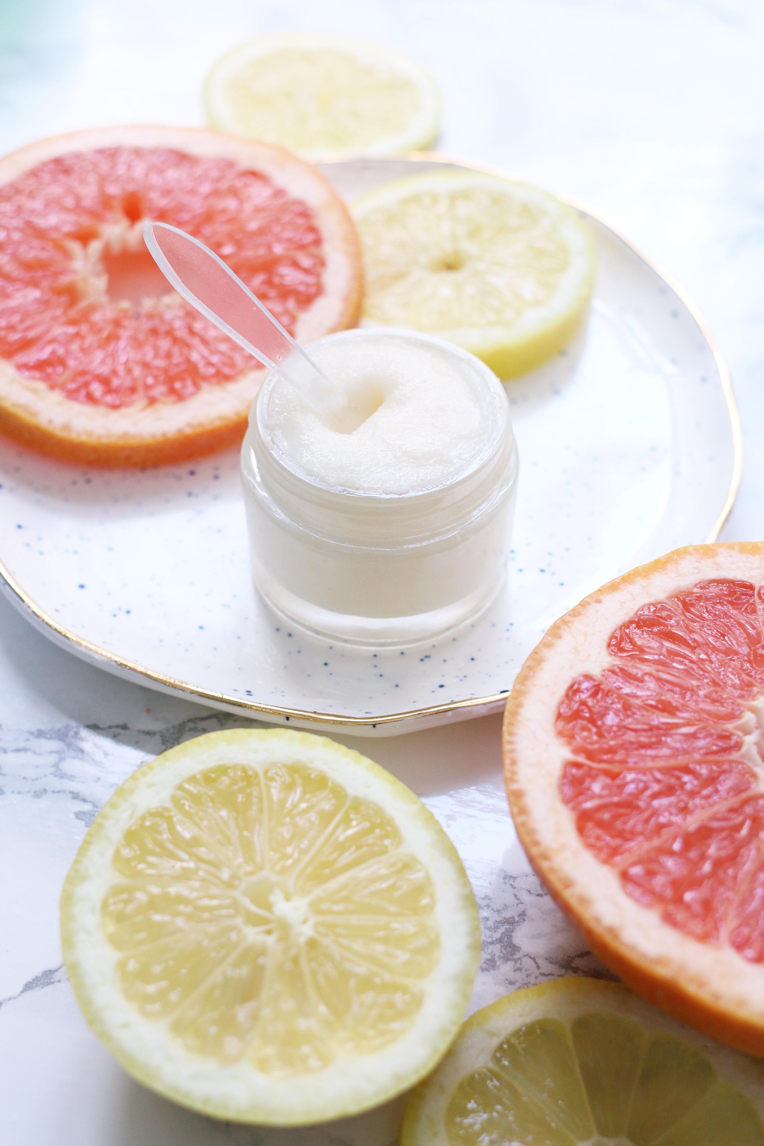 DIY grapefruit lemonade lip scrub