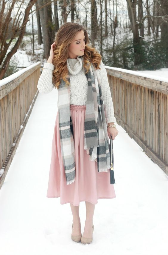 9143ed81b a blush midi skirt, a white cable knit sweater and a scarf