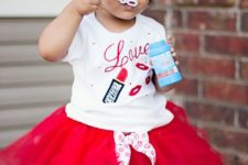 02 a hot red tutu with polka dots, a printed tee