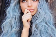 02 adorable long curly hair in light blue color