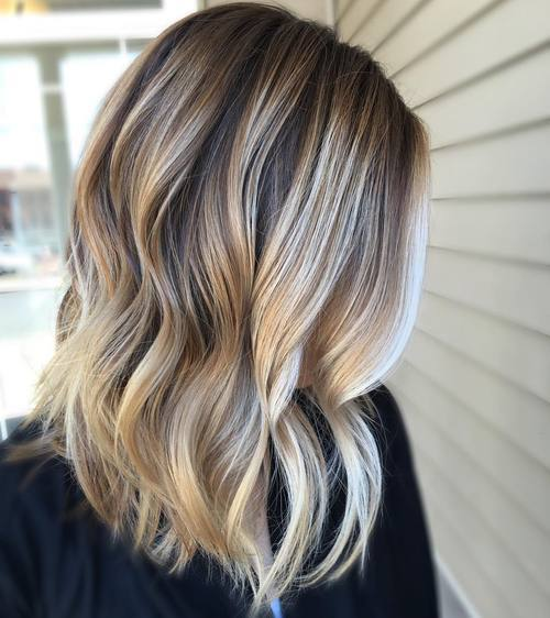 brunette with platinum blonde highlights