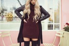 02 burgundy turtle neck sweater dress with leather coat and over the knee boots