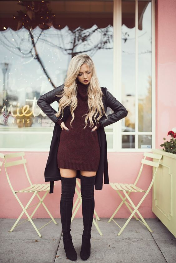 burgundy turtle neck sweater dress with leather coat and over the knee boots