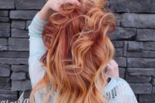 02 firery red hair with balayage nude blonde ends
