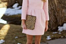 03 a blush mini dress with leopard heels and a clutch