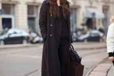 03 a long coat, a black sweater, keen-high boots