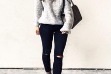 03 black ripped jeans, light brown suede boots, a grey off the shoulder sweater