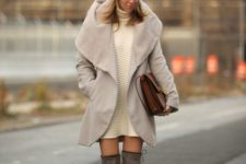 03 cream sweater dress, grey over th eknee boots and a taupe coat