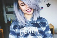 03 cute blue grey dyed hairstyle with dark roots