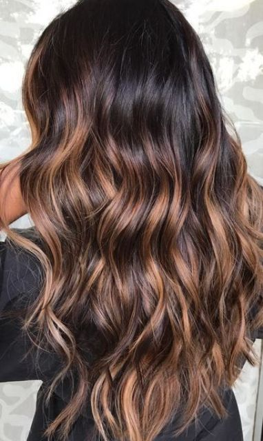 rich and shiny brunette base with dark caramel sunkisses