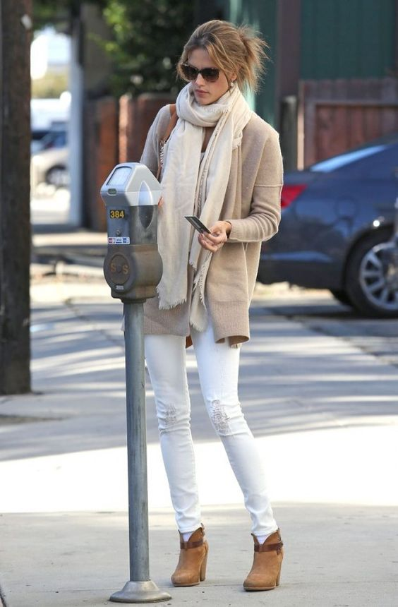 ripped white jeans, ankle boots, a blush short coat and a creamy scarf