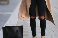 04 black ripped skinnies, blush heels, a black tee and a camel coat