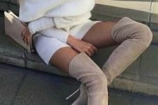 04 off the shoulder cream sweater dress and taupe over the knee boots