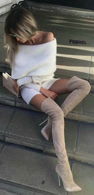 off the shoulder cream sweater dress and taupe over the knee boots