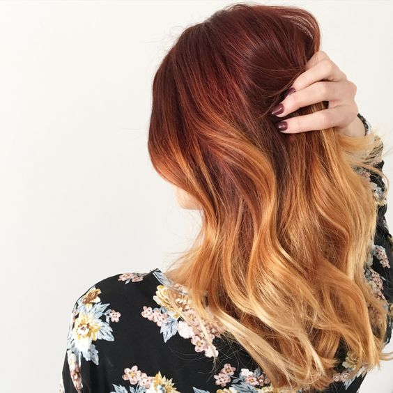 red and copper balayage idea for medium hair
