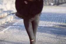 05 all-black look with a fuzzy coat and suede boots