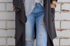 05 blue ripped jeans, camel booties, a grey tee and an overiszed black cardigan