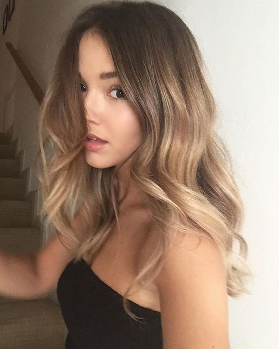 Picture Of Brown Hair With Ombre Balayage To Honey And Blonde
