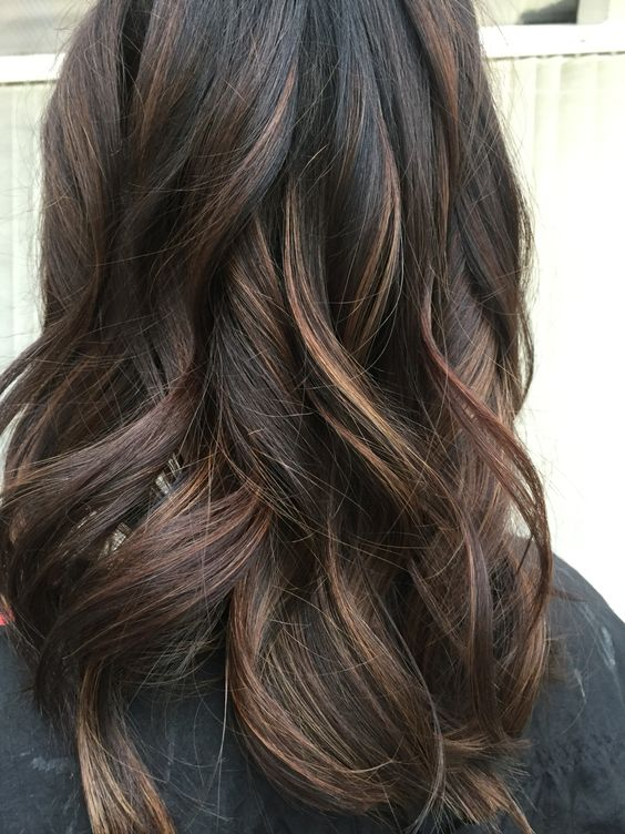 dark brunette balayage with caramel shades