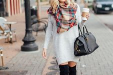 05 pair a sweater dress with an over-the-knee boot, a scarf and a beanie for ultimate street style
