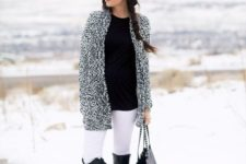 05 white jeans, a black tee, flat boots and a fluffy cardigan