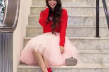 06 blush pink tutu, a red sweater and heels, a statement necklace