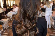 06 long brown hair with caramel highlights