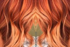 06 red rose gold balayage with an ombre effect