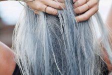06 silver grey plus light blue hair