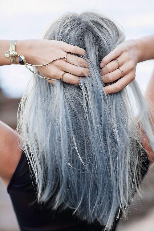 silver grey plus light blue hair