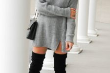 06 sweater dress and black over the knee boots