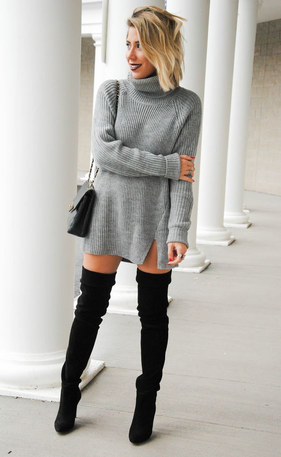 c74e7541229 20 Sexy And Comfy Sweater Dress With Boots Outfits - Styleoholic