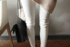 06 white jeans, a blush oversized sweater and dark grey ankle boots