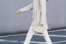 06 white ripped jeans, a white oversized turtleneck sweater
