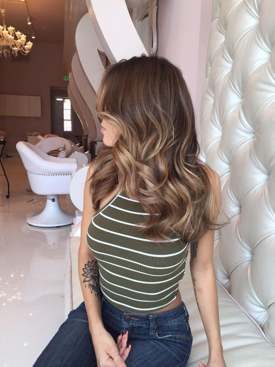brown hair with lighter honey shades