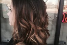 07 medium wavy dark hair with caramel and bronde highlights