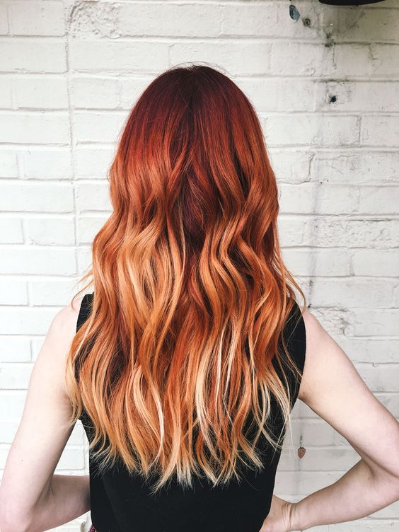 red to copper balayage on long hair
