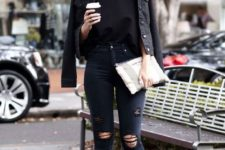 08 all-black look with a tee, a jacket and ankle boots